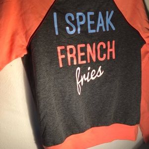 NWT Rebellious One•Cute French Fries Coral Sweater